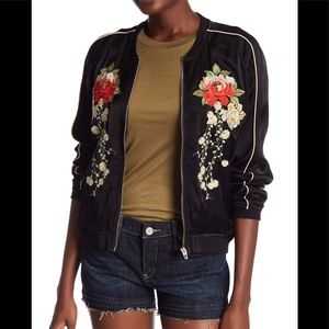 Blank NYC Floral Embroidered Bomber Jacket